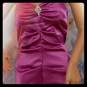 Xscape orchid strapless gown w rhinestone